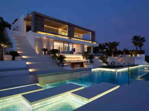 Adorable Pool Lighting Roca Lisa Villa Spain