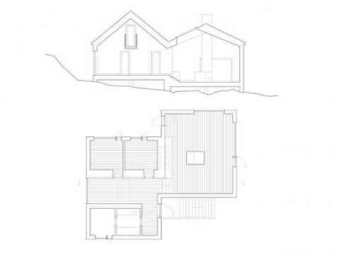 Architecture Section Floor Plan Vega Cottage Norway