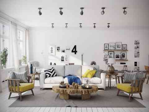 Art Wall Yellow Accents Living Room