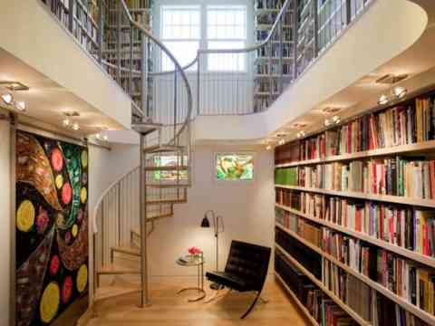 Beautiful Staircase Home Library Design And Art Wall