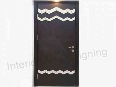 Black Door Design With Wood Work