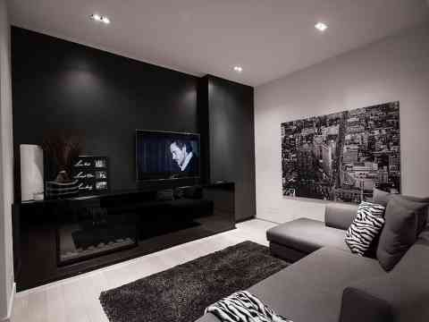 Black LCD Cabinet Design Gray Sofa And Rug Design