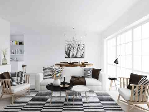Black Stripes Rug And Art Wall