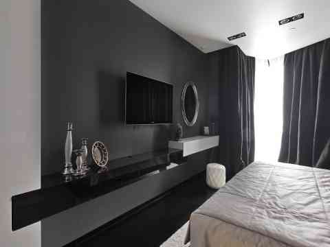 Charcoal Gray Wall Beautiful LCD Cabinet Design