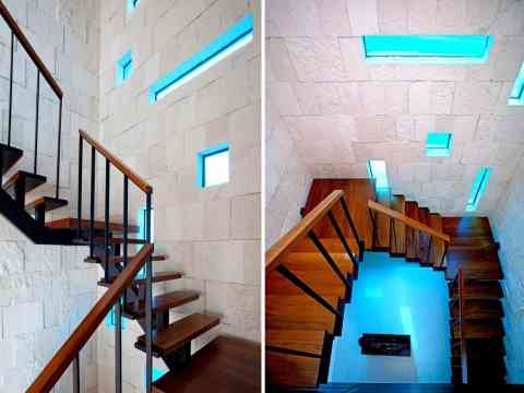 Dark Wood Stairs And Block Windows Design