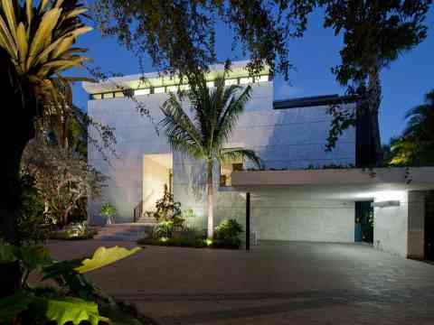 Evening Entrance Driveway Lighting Miami Home