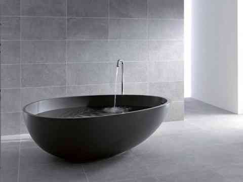 Free Standing Dark Egg Shaped Bathtub