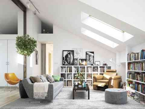 Grayish And White Combination Living Room