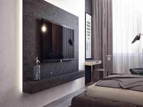 Grey Color LCD Cabinet Design Adorable Bedroom