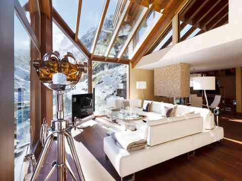 Living Room Design L Shaped Sofa Chalet Switzerland