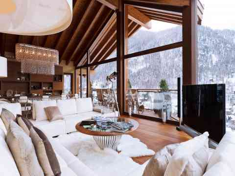 Living Room Design White Color Sofa Chalet Switzerland