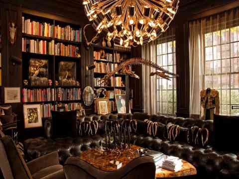 Luxurious Home Library Design Idea And Leather Sofa