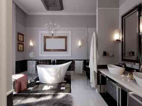 Master Bathroom With Beautiful Bathtub Design
