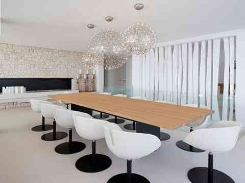 Modern Dining Table And Fireplace Pendant Lighting
