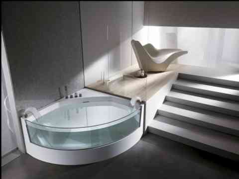 Modern Quarter Glass Fixed Bathtub Design