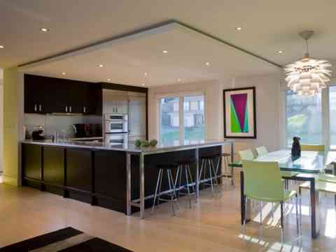 Open U Shaped Kitchen And Dining Design