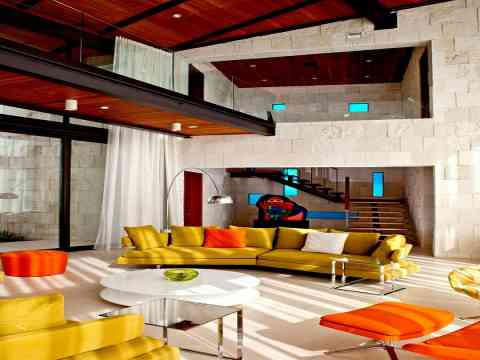 Orange Chairs Green Sofa Interior Design