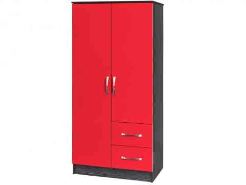 Red And Black Two Door And Draws Wardrobe Design