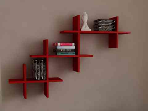 Red Color Shelves Wall Unit Design