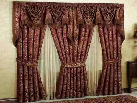 Red Fabric Curtain Design With Tie