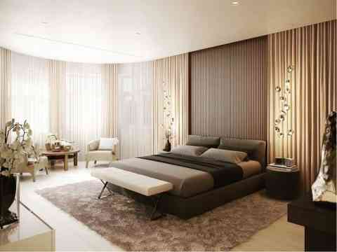 Round Wall With Curtain Bedroom Design