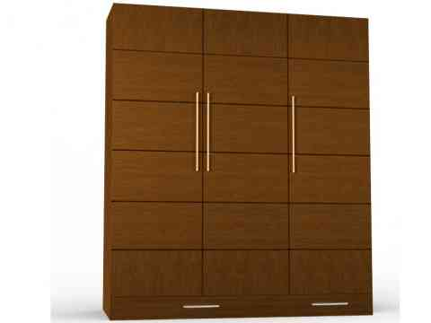 Routering Stripes Design Three Door Wardrobe