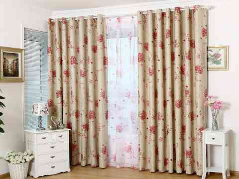 Rustic Sheer Curtain Panel Red Floral