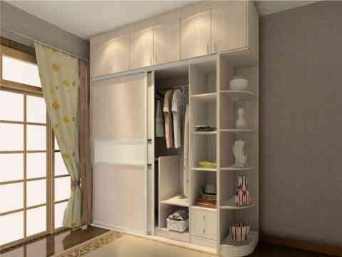 Sliding Two Door Wardrobe Design With Side Corners Storage Shelves
