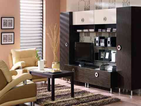 Smart LCD Cabinet Design Idea Cream Color Sofa