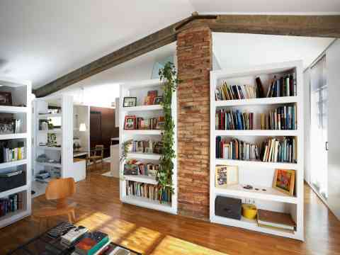Stone Wall Modern Wooden Library Room Design