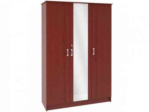 Three Doors Wardrobe Design With Glass
