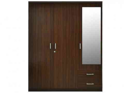 Three Doors With Glass And Two Draws Wardrobe Design