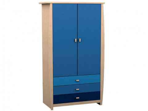 Three Drawers And Two Door Blue Wardrobe Design