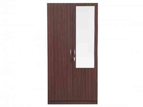 Two Door Wardrobe Design With Glass