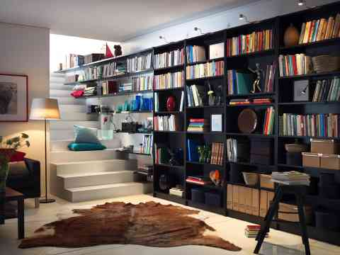 Unique Side Wall Home Library Book Shelves Design