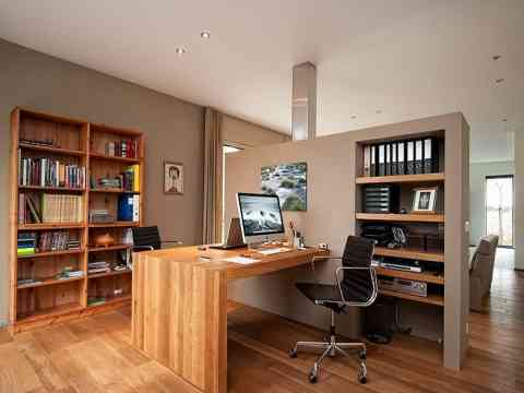 Wall Seperation Wooden Flooring And Desk Office Design