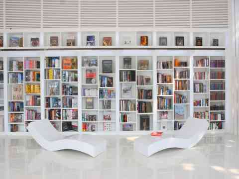 White Beautiful Library And Reading Room Design