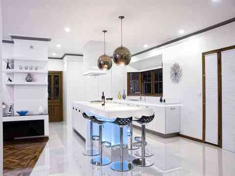 White Kitchen Interior And Beautiful Lights