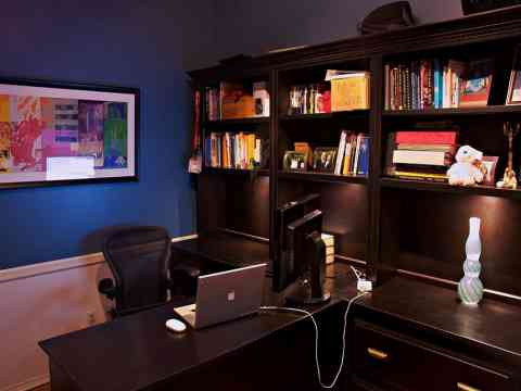 Wooden Dark Office Furniture Interior Design