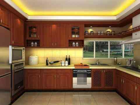 Wooden Kitchen Design Beautiful Lights And Ceiling Design