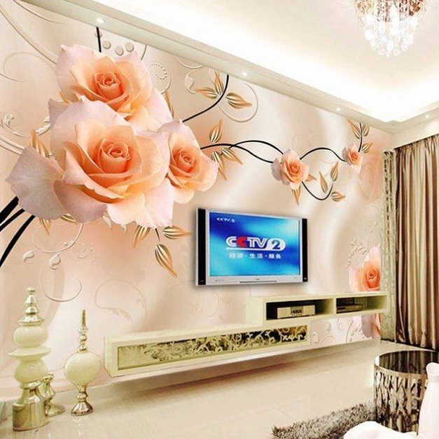 Orange rose 3d wallpaper design lcd cabinet id851 lcd for Kitchen cabinets lowes with pink 3d butterfly wall art